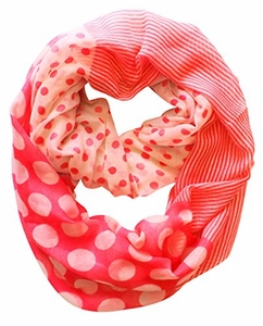 Multi Polka Dot Circle and Stripe Print Infinity Loop Scarf (Pink and Cream)