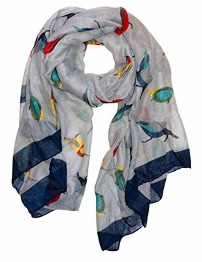Pretty Vintage Finch Bird All-Over Print Light Sheer Scarf (Grey)