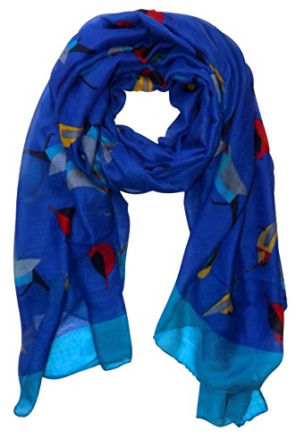 Pretty Vintage Finchbird All-Over Print Light Sheer Scarf (Royal Blue)