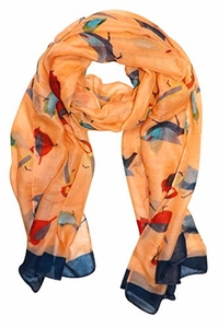 Pretty Vintage Finchbird All-Over Print Light Sheer Scarf (Tangerine)