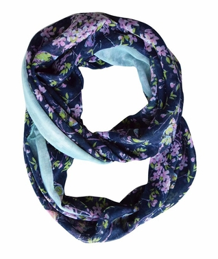 Pretty Vintage Floral Blossom Hummingbird Light Sheer Loop Scarf (Navy Loop)