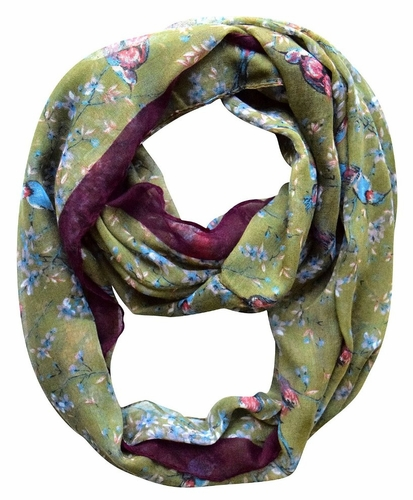 Pretty Vintage Floral Blossom Hummingbird Light Sheer Loop Scarf (Olive Loop)