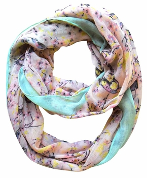 Pretty Vintage Floral Blossom Hummingbird Light Sheer Loop Scarf (Pink Loop)