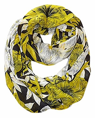 Retro Colorful Faded Hawaiian Hibiscus Flower Infinity Loop Scarf (Black/Green)