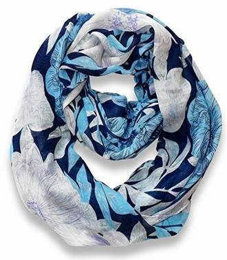 Retro Colorful Faded Hawaiian Hibiscus Flower Infinity Loop Scarf (Blue)