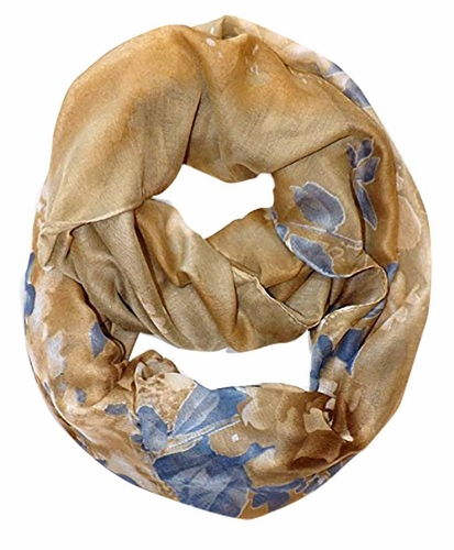Retro Colorful Faded Hawaiian Hibiscus Flower Infinity Loop Scarf (Faded Gold)