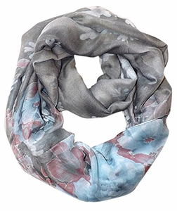 Retro Colorful Faded Hawaiian Hibiscus Flower Infinity Loop Scarf (Faded Grey/Blue)