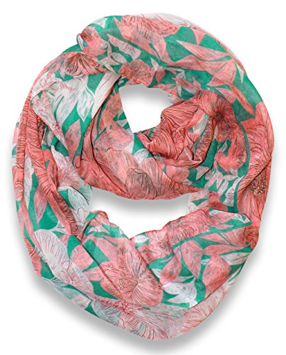 Retro Colorful Faded Hawaiian Hibiscus Flower Infinity Loop Scarf (Green/Peach)