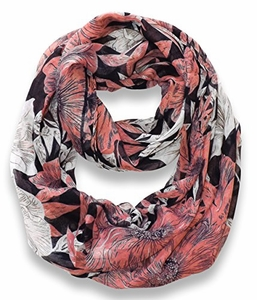 Retro Colorful Faded Hawaiian Hibiscus Flower Infinity Loop Scarf (Navy/Peach)
