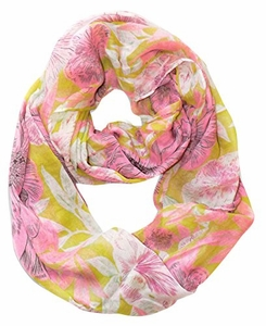 Retro Colorful Faded Hawaiian Hibiscus Flower Infinity Loop Scarf (Pink/Green)