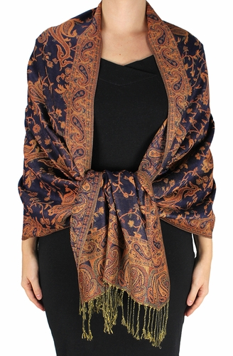 Sophisticated Reversible Paisley Floral Shawl (Burnt Orange and Navy)