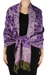 Sophisticated Reversible Paisley Floral Shawl (Grape)