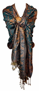 Reversible Paisley Pashmina Shawl Wrap in Elegant Colors (Green and Gold)