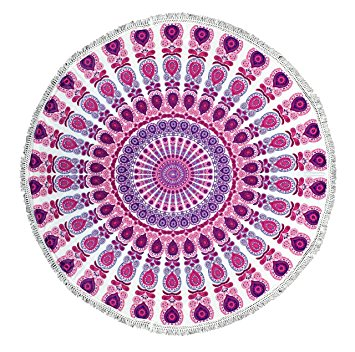 Peach Couture Roundie Beach Towel Yoga Mats Thick Terry Cotton with Fringe Tassels - Dark Pink