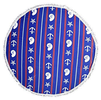 Peach Couture Roundie Beach Towel Yoga Mats Thick Terry Cotton with Fringe Tassels - Navy Anchor