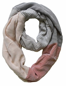 Sassy in Stripes Vintage Style Multi Color Lightweight Infinity Loop Scarf (Khaki)