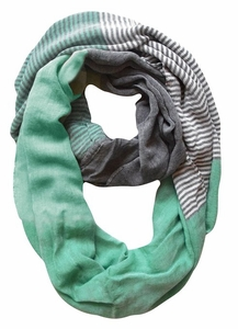 Sassy in Stripes Vintage Style Multi Color Lightweight Infinity Loop Scarf (Mint)