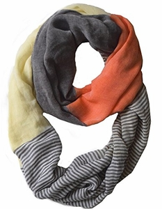 Sassy in Stripes Vintage Style Multi Color Lightweight Infinity Loop Scarf (Orange)