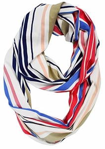 Sassy Striped Vintage Style Lightweight Infinity Loop Scarf (Coral/Blue)