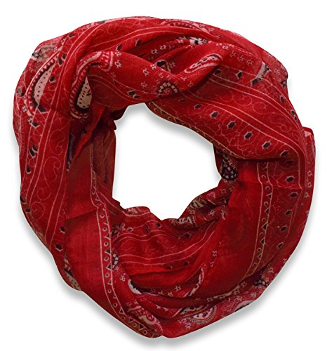 Classic Lightweight Paisley Design Infinity Loop Scarf (Burgundy)