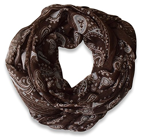 Classic Lightweight Paisley Design Infinity Loop Scarf (Chocolate Brown)