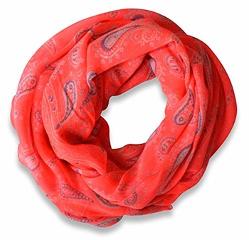 Classic Lightweight Paisley Design Infinity Loop Scarf (Neon Pink)