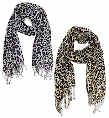 Soft and Silky Leopard Print Pashmina Shawl Wrap Scarf Scarves Hot Design (2 Pack Purple, Brown)