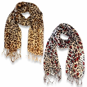 Soft and Silky Leopard Print Pashmina Shawl Wrap Scarf Scarves Hot Design (2 Pack Tan, Coral)