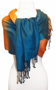 Soft and Silky Vibrant Colored Tie Dye Pashmina Shawl (Teal/Orange)