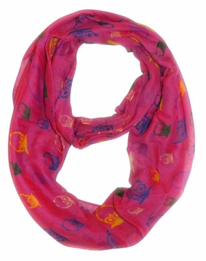 Stunning Colorful Lightweight Vintage Owl Print Infinity Loop Scarf (Fuchsia)