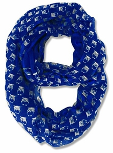 Stunning Colorful Lightweight Vintage Owl Print Infinity Loop Scarf (Royal Blue)