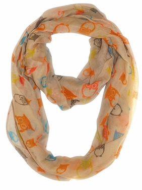 Stunning Colorful Lightweight Vintage Owl Print Infinity Loop Scarf (Tan)