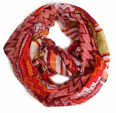 Peach Couture Stylish & Trendy Lightweight Two-toned Wide Chevron Design Infinity Loop Scarf (Wine)