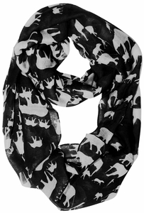 Trendy Lightweight Animal Print Artsy Elephant Loo Scarf (Black)
