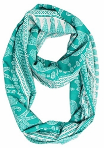 Trendy Lightweight Animal Print Artsy Elephant Wrap Scarf Shawl (Medium, Green Tribal)