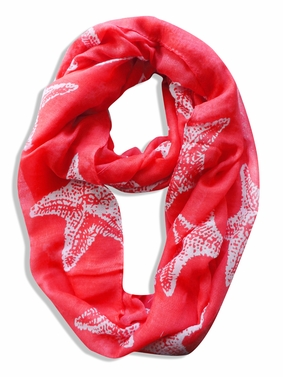 Peach Couture� Trendy Seashore Tropical Starfish Design Infinity Loop Scarf (Coral)