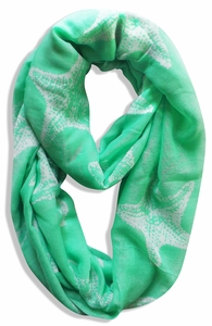 Peach Couture® Trendy Seashore Tropical Starfish Design Infinity Loop Scarf (Mint Green)