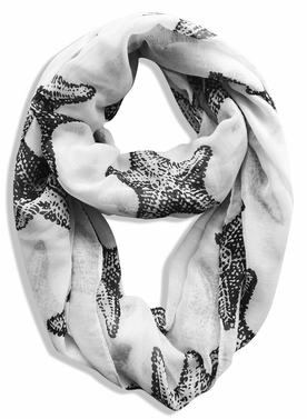 Peach Couture� Trendy Seashore Tropical Starfish Design Infinity Loop Scarf (White)
