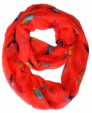 Vintage Finch Bird All-Over Print Light Sheer Infinity Loop Scarf (Coral)