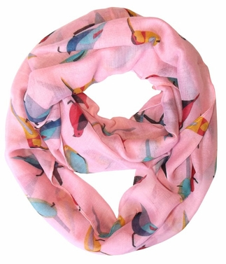 Vintage Finch Bird All-Over Print Light Sheer Infinity Loop Scarf (Peach)