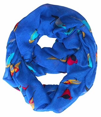 Vintage Finch Bird All-Over Print Light Sheer Infinity Loop Scarf (Royal Blue)
