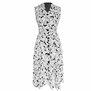 Vintage Inspired Pattern A-Line Shift Dress with Fabric Belt Tie (Dazzling In Daisies)
