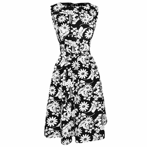 Vintage Inspired Pattern A-Line Shift Dress with Fabric Belt Tie (Black and White)