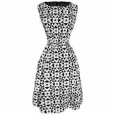 Vintage Inspired Pattern A-Line Shift Dress with Fabric Belt Tie (Art Deco Black and White)