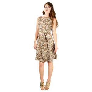 Vintage Inspired Pattern A-Line Shift Dress with Fabric Belt Tie (Olive and Burgundy)