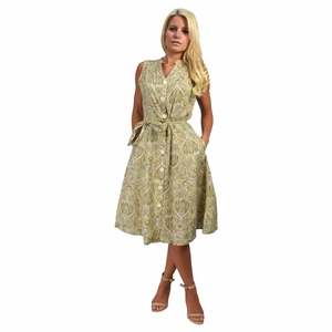 Vintage Inspired Pattern Button Up Shift Dress with Fabric Belt Tie 100% Cotton (Tan)