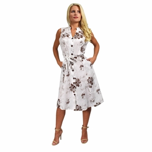 Vintage Inspired Pattern A-Line Shift Dress with Fabric Belt Tie (Floral Brown & White)