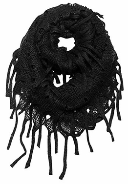 Warm Bohemian Crochet Hand Knitted Fringe Loop Scarf (Black)