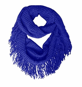 Warm Bohemian Crochet Hand Knitted Fringe Loop Scarf Wrap (Blue)