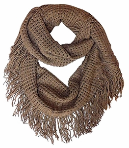 Peach Couture Warm Bohemian Crochet Hand Knitted Fringe Loop Scarf Wrap (Tan)